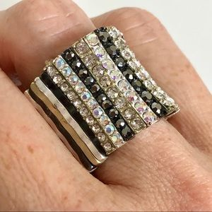Pave Rhinestone Adjustable Statement Ring
